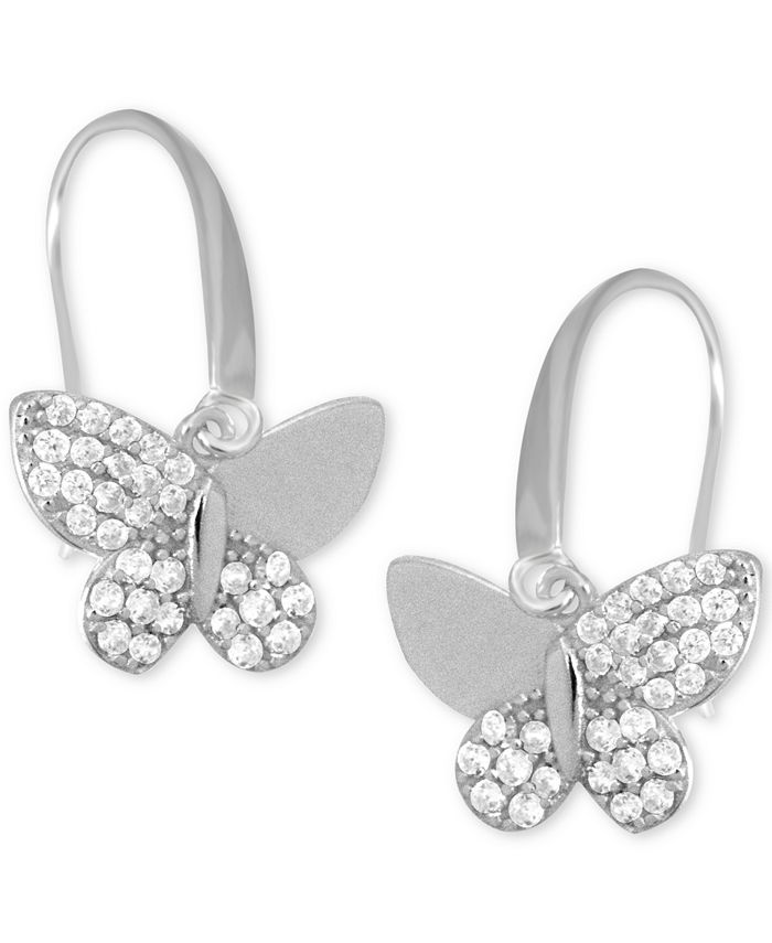Essentials - Cubic Zirconia Butterfly Drop Earring in Rose Gold Plate