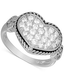 Essentials Cubic Zirconia Heart Cluster Statement Ring in Fine Silver-Plate