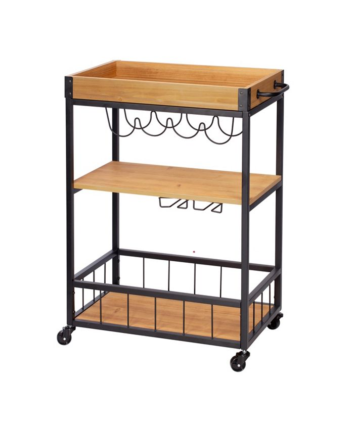 Honey Can Do - Industrial Rolling Bar Cart with Removable Serving Tray