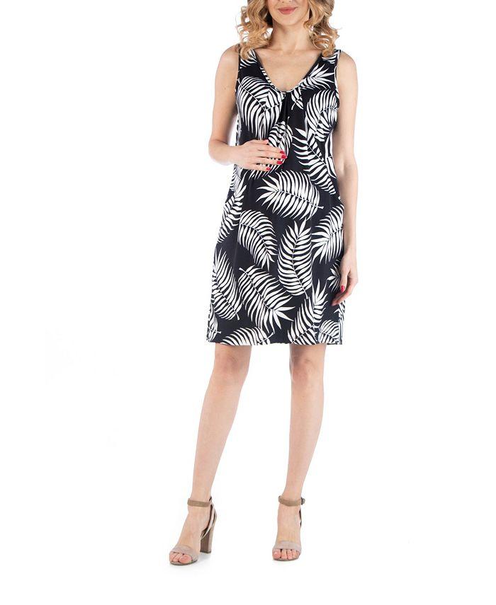 24seven Comfort Apparel Botanical Print V Neck Maternity Dress With Pockets Reviews Dresses Women Macy S