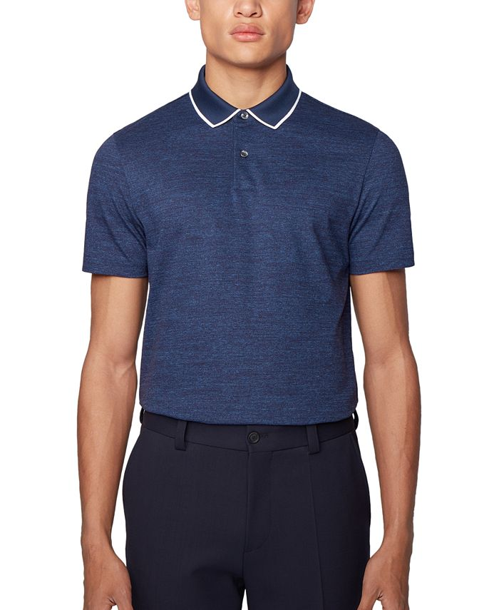 Hugo Boss - Men's Pitton 17 Open Blue Polo Shirt