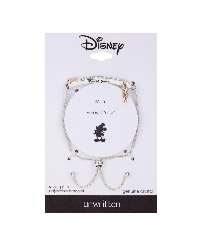 """Disney Fine Silver Plated Mickey Mouse """"Mom"""" Clear Crystal Adjustable Bolo & Reviews - Bracelets - Jewelry & Watches - Macy's"""