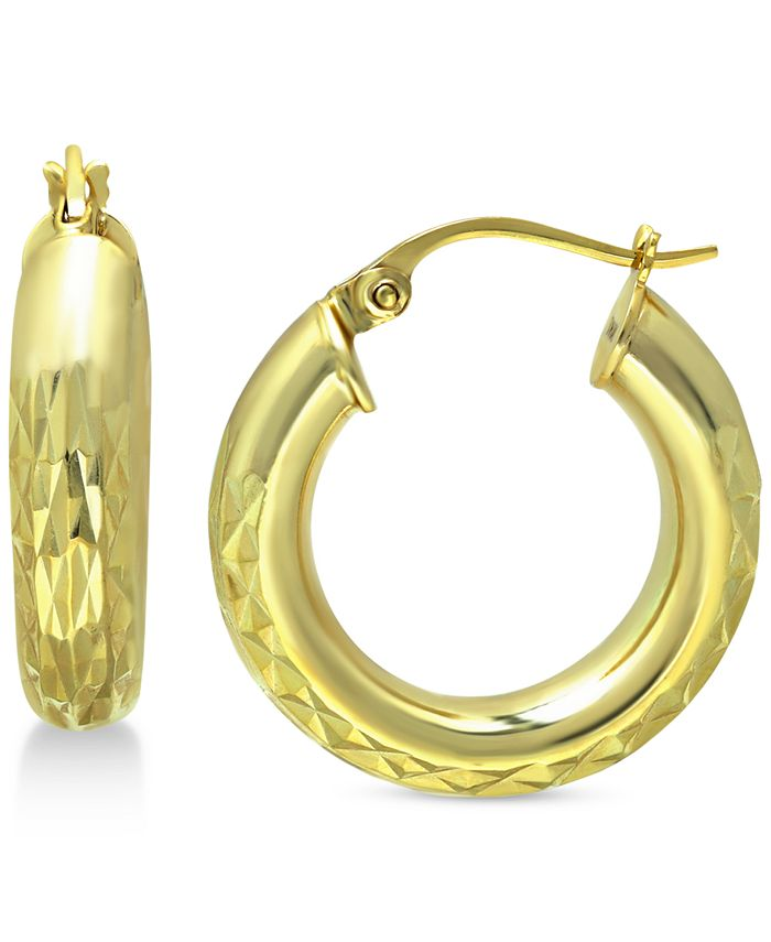 """Giani Bernini - Small Textured Hoop Earrings in 18k Gold-Plated Sterling Silver, 1"""""""