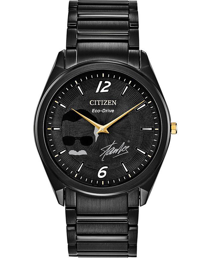 Citizen - Men's Stan Lee Black Stainless Steel Bracelet Watch 39mm