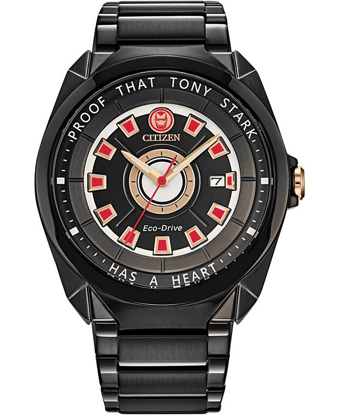 "Citizen - Men's Tony Stark ""I Love You 3000"" Black Stainless Steel Bracelet Watch 43mm"