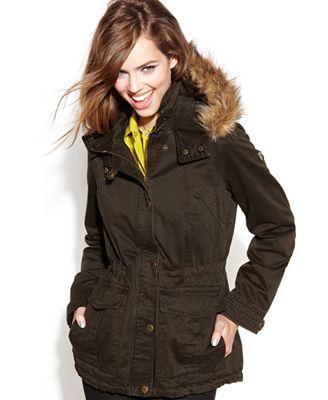Guess Coat Hooded Faux Fur Trim Parka Coats Women