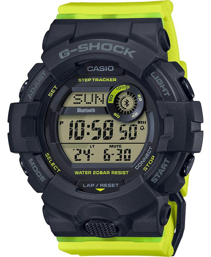 G-Shock - Women's Digital Steptracker Neon Yellow Resin Strap Watch 45.2mm