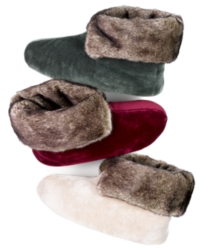 Isotoner Super Plush Velour Bootie with Faux Fur Slippers