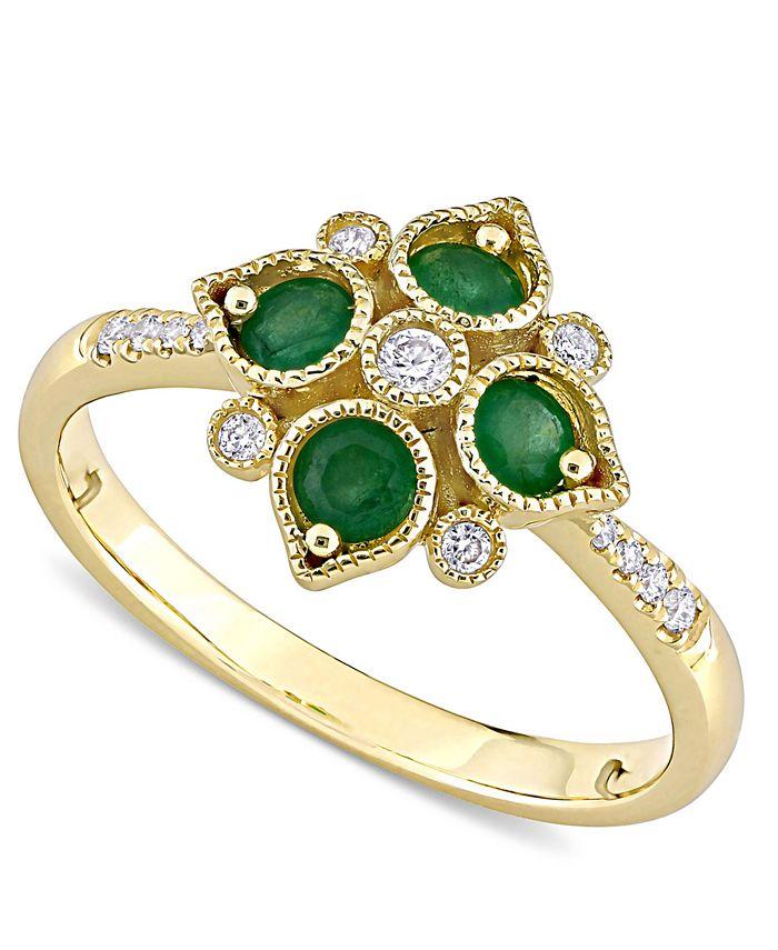 Macy's - Emerald (1/3 ct. t.w.) & Diamond (1/10 ct. t.w.) Statement Ring in 14k Gold