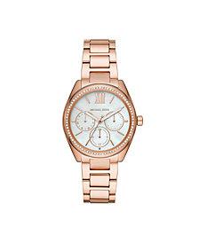 Michael Kors Women's Janelle Multifunction Rose Gold-Tone Stainless Steel Bracelet Watch 36mm MK7095
