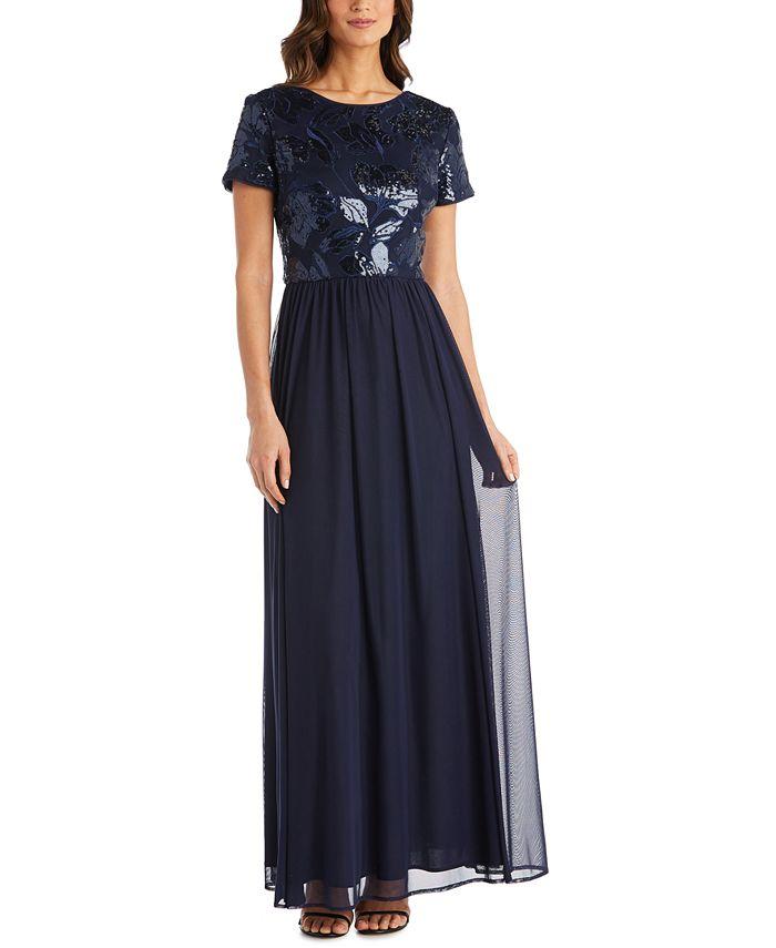 R & M Richards - Sequin-Embellished Gown