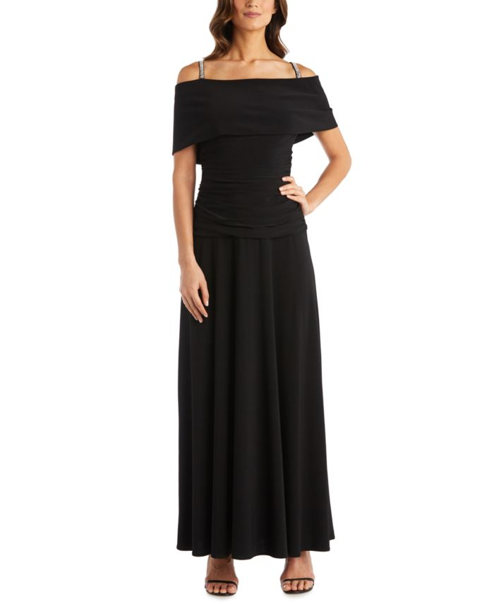 R & M Richards Cold-Shoulder Banded Gown & Reviews - Dresses - Women - Macy's