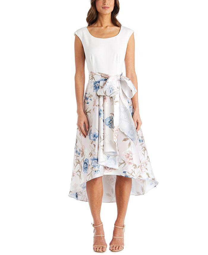 R & M Richards - Floral-Print High-Low Dress