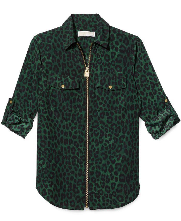 Michael Kors - Mega Cheetah-Print Zip Shirt