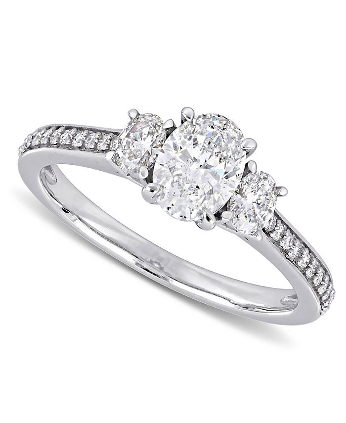 Macy's - Diamond Oval Three Stone Engagement Ring (1-1/10 ct. t.w.) in 14k White Gold