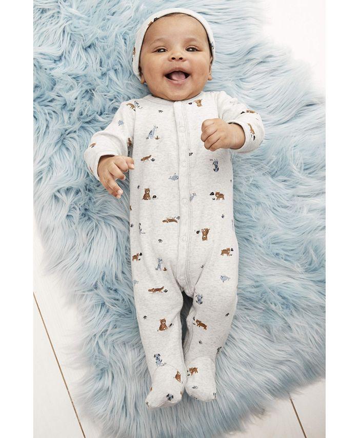Carter's - Baby Boys 2-Pc. Cotton Animal-Print Coveralls & Hat Set