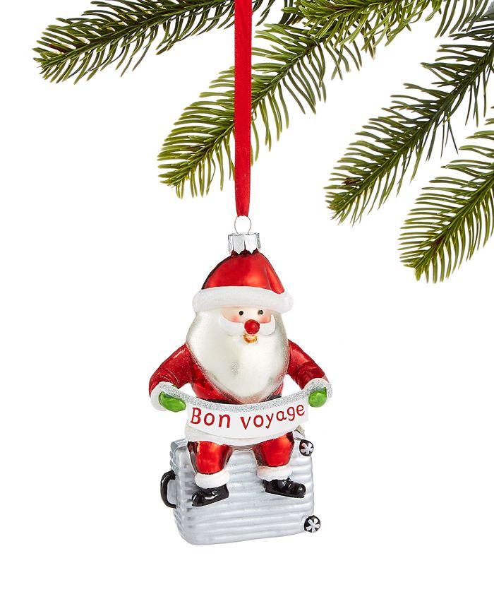 Holiday Lane - World Traveler Santa on Suitcase Ornament