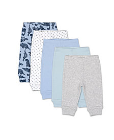 The Peanutshell Baby Boys Dinos and Dots 5 Pack Pants