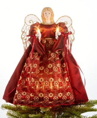 Light Up Burgundy & Gold Angel Tree Topper, Created for Macy's