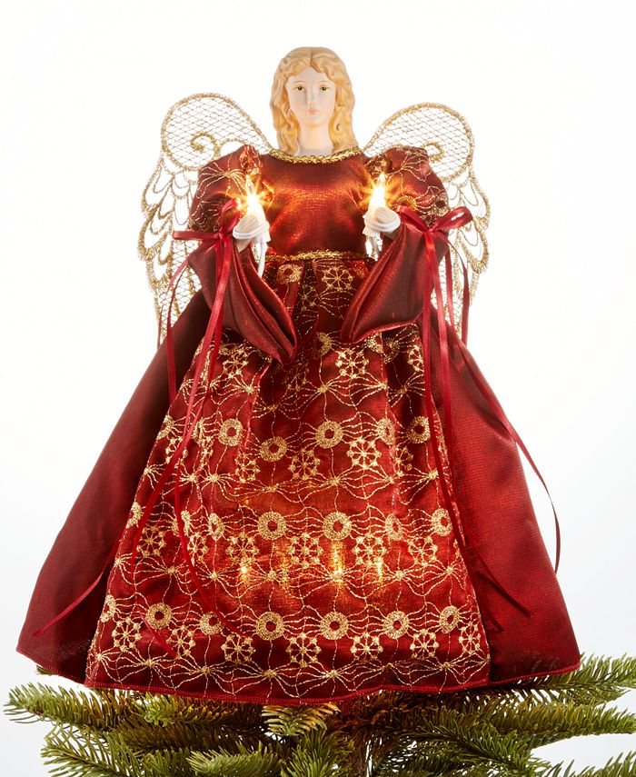 Holiday Lane - Burgundy/Gold Angel Tree Topper