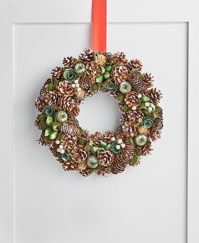 Holiday Lane Birds & Boughs Pine cone Christmas Wreath, Created for Macy's