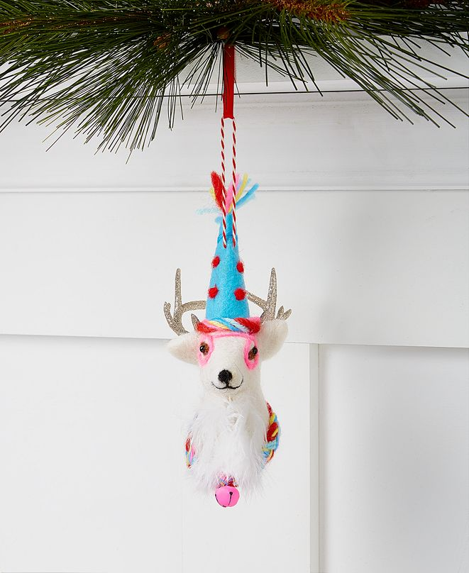 Holiday Lane Merry & Brightest Felt Reindeer Head Ornament, Created for Macy's