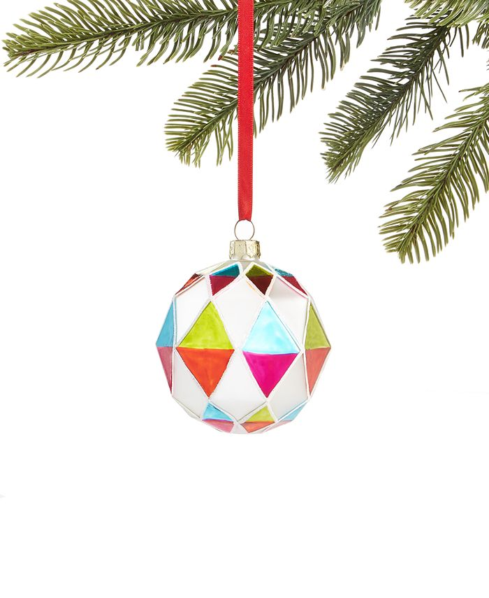Holiday Lane - Merry & Brightest Glass Ball with Multi-Colored Diamond Design