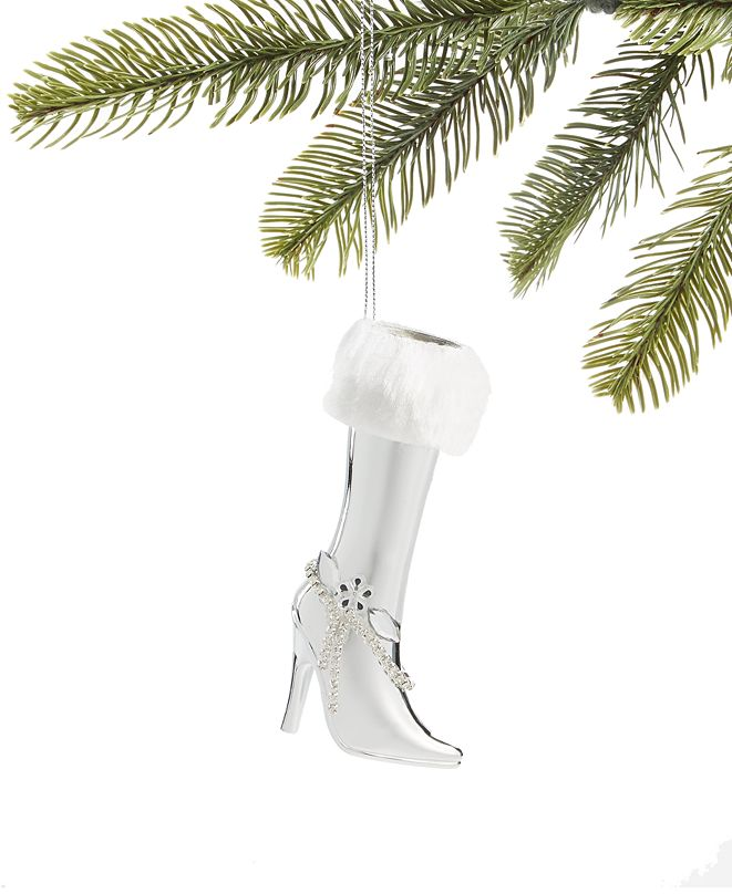 Holiday Lane Fashion Week, Silver High Heel Boot Ornament, Created for Macy's