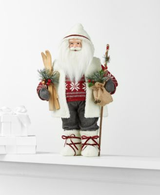 Standing Santa with Skis and Walking Stick, Created for Macy's