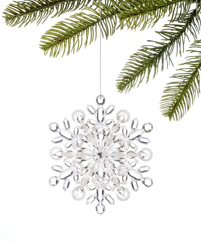 Holiday Lane Snowdaze, Clear Acrylic Snowflake Ornament, Created for Macy's