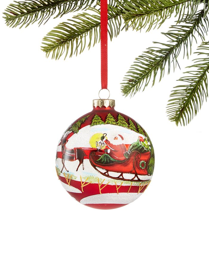 Holiday Lane - Santa's Favorites Santa Red Ball Ornament