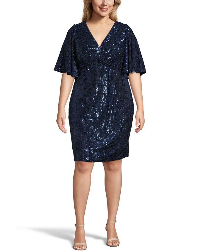 Adrianna Papell - Plus Size Sequin Sheath Dress