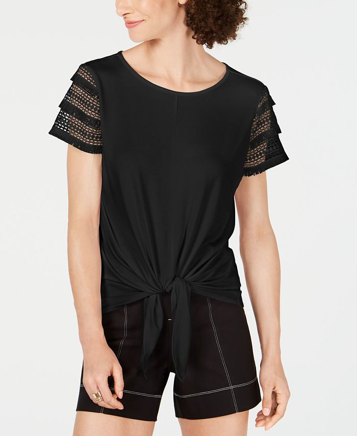 INC International Concepts - Lace-Sleeve Tie-Front Top
