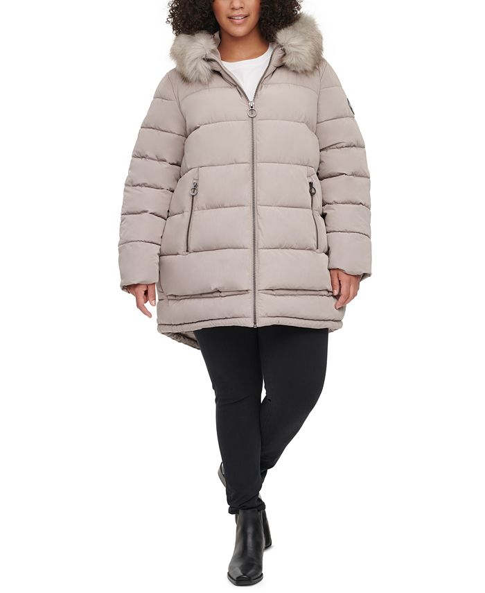 DKNY - Plus Size Faux-Fur-Trim Hooded Puffer Coat