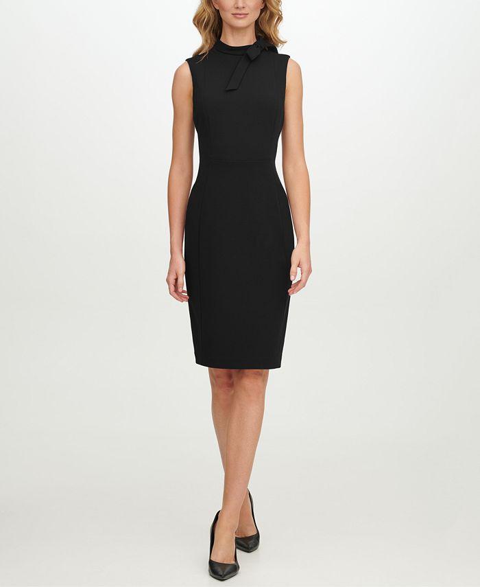 Calvin Klein - Scuba-Crepe Tie-Neck Sheath Dress