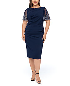 Betsy & Adam Plus Size Beaded-Sleeve Dress