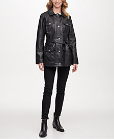 DKNY Belted Snap Front Leather Coat