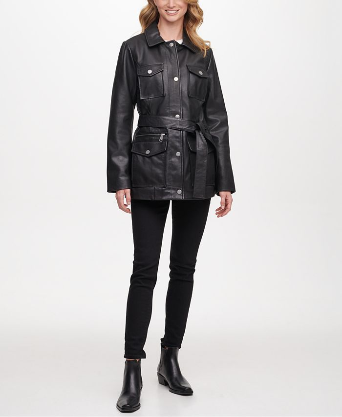 DKNY - Belted Snap Front Leather Jacket