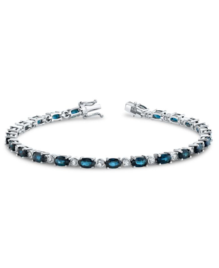 Macy's Blue Sapphire (9-1/5 ct. t.w.) & White Sapphire (1-1/10 ct. t.w.) Tennis Bracelet in Sterling Silver & Reviews - Bracelets - Jewelry & Watches - Macy's