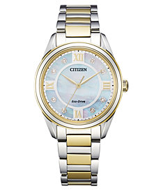 Citizen Eco-Drive Women's Arezzo Diamond-Accent Two-Tone Stainless Steel Bracelet Watch 32mm