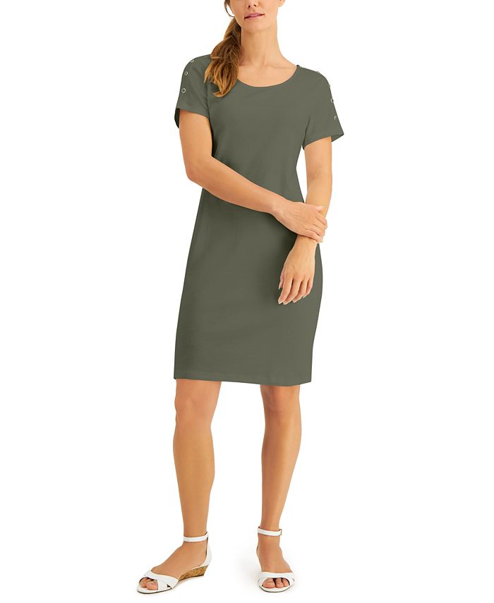 Karen Scott - Plus Size Cotton Button-Shoulder Dress
