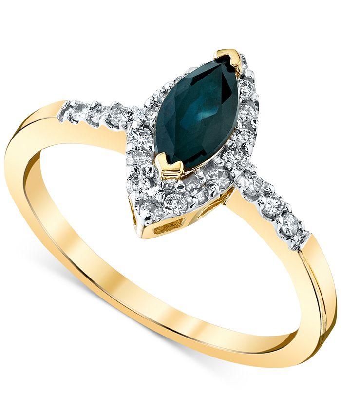 Macy's - Sapphire (3/4 ct. t.w.) & Diamond (1/5 ct. t.w.) Ring in 14k Gold
