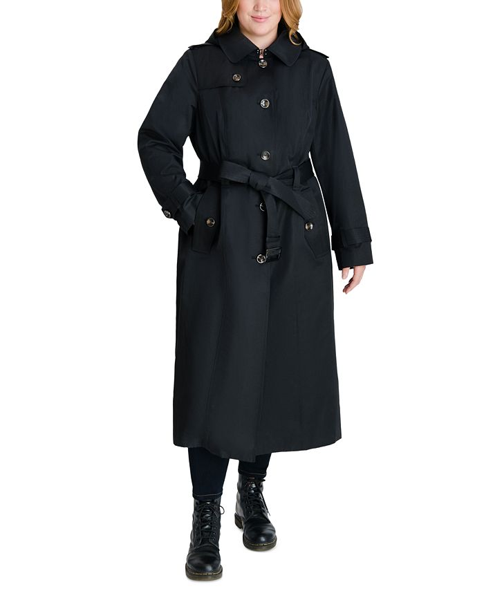 London Fog - Plus Size Hooded Belted Raincoat