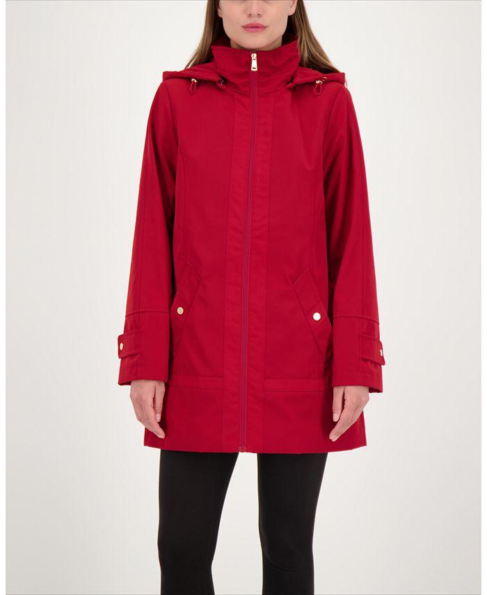 Jones New York - Zip-Front A-Line Hooded Raincoat