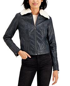 Jou Jou Juniors' Faux-Fur Collar Faux-Leather Jacket