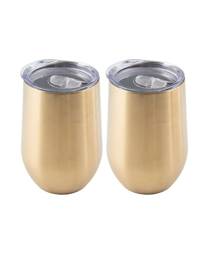 Thirstystone - 2 PACK OF 15 OZ GOLD STAINLESS STEEL WINE TUMBLERS
