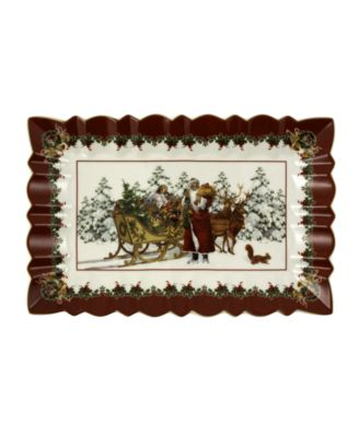 Toys Fantasy Rectangulare Cake Plate, Santa with sleigh