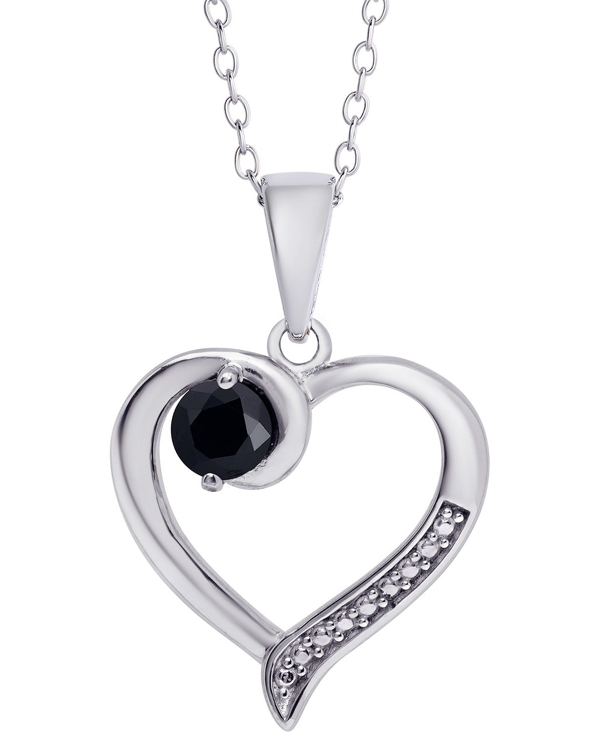"Sapphire Open Heart 18"" Pendant Necklace (1/3 ct. t.w.) in Sterling Silver"