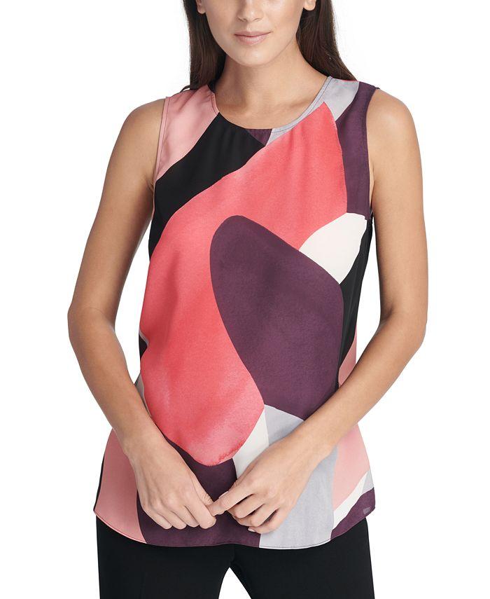 DKNY - Sleeveless Abstract-Print Top