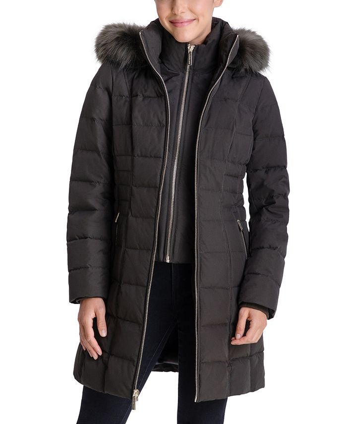 Michael Kors - Faux-Fur-Trim Hooded Puffer Coat